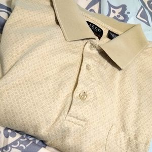 Izod Three Button Beige Golf Polo Shirt Me…